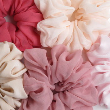 4 silk scrunchies for USD40. Free shipping silk hair scrunchie. Hypoallergenic hair accessories.