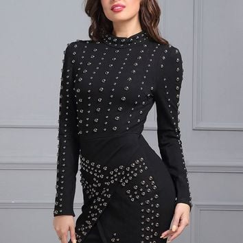 Bead It Black Studded Mini Dress