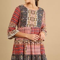 Patch Print Boho Tunic Dress