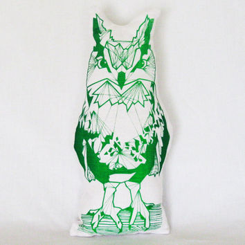 Florescent Green Geometric Screen Printed Linen Owl Pillow