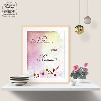 Printable Design - Watercolor Art - Motivational Print - Boho Artwork - Inspirational Wall Decor - Digital Download - Elegant Typography