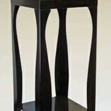 A.M.B. Furniture & Design :: Accessories :: Plant Stands :: Black finish metal plant stand with glass top and shelf