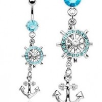 Aqua Lt Blue Crystals Dangling Wheel & Anchor Dangle Nautical Boating Belly Button Navel Ring 14 Gauge