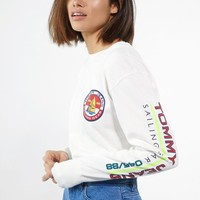 Tommy Hilfiger Logo Long Sleeve T-Shirt at PacSun.com - white | PacSun