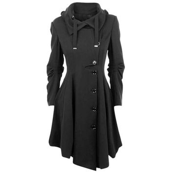 Irregular Turn-down Collar Long Wool Blend Coat Women Single Breasted Overcoat Autumn Winter Slim Fit Coats Female