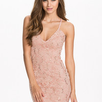 Pink Floral Sequined Strappy Bodycon Mini Dress