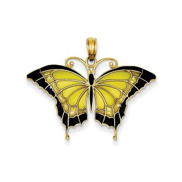 14K Yellow Gold Yellow Acrylic Wings Butterfly Pendant