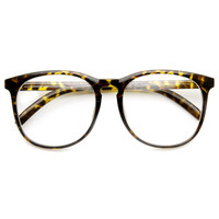 Vintage Inspired Horned Rim Dapper Clear Lens Glasses 9426