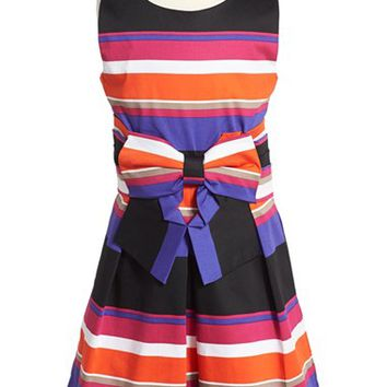 Girl's kate spade new york kids 'jillian' stripe sleeveless dress,