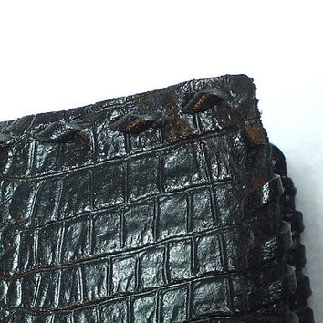 Hand made leather wallet, men's leather wallet, black leather wallet, embossed crocodile pattern, leather wallet