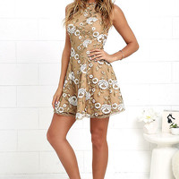 Dress the Population Abbie Beige Lace Dress