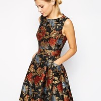 Karen Millen Skater Dress in Floral Jacquard