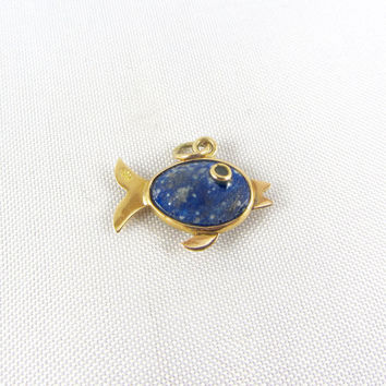 Vintage 18K Gold Fish Charm Pendant Mid Century Blue Stone Yellow Gold Fine Charm Jewelry