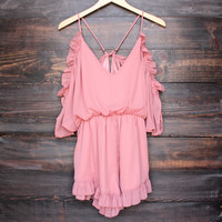 peek a boo shoulder romper with ruffle hem in dusty pink