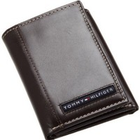 Tommy Hilfiger Men's Leather Cambridge Trifold Wallet, Brown, One Size