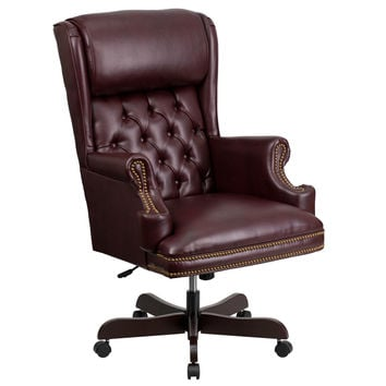 Flash Furniture High Back Traditional Tufted Burgundy Leather Executive Swivel Office Chair [CI-J600-BY-GG]