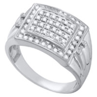 Diamond Cluster Mens Ring White Gold in 10k White Gold 0.5 ctw