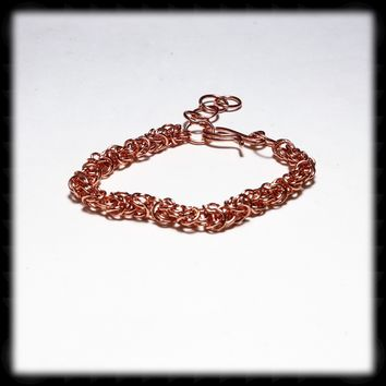 Copper Byzantine Weave Chain Mail Bracelet