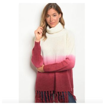 Cozy Fringe Ivory Magenta Ombre' Cowl Sweater