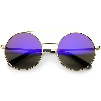 Retro Round Metal Mirrored Lens Sunglasses A232