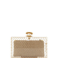 Charlotte Olympia Pandora Pearl-in-Shell Clutch Bag, Clear