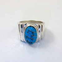 Sterling Silver Turquoise Ring, Modernist Mexico Jewelry, Turquoise Black Matrix Inlay, Signed TL-29, Unisex Men Womens Turquoise Ring