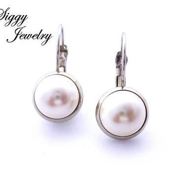 Pearl Bezel Earrings Made With Genuine Swarovski® Crystal Pearls, 10mm Drops, White Gold Finish, Bridal Earrings, FREE SHIPPING
