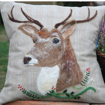Brown Deer decorative throw pillow cover / cushion cover with needle felted deer in the heather  design