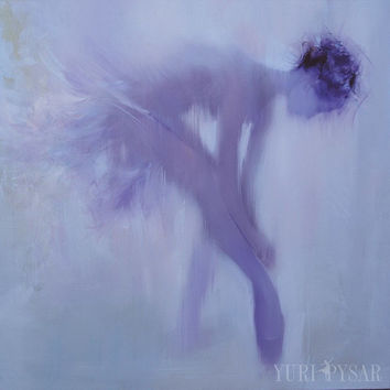 Lavender Dancer Poster - Large Ballerina Art Print Framed - Lilac Wall Art Canvas of Original Ballerina Painting by Yuri Pysar