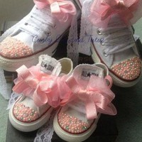 PEAP91W Mommy and Me 'Bling' high/low top converse in your choice of color, stone & ribbon sho