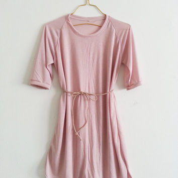 Blush Pink Women Oversized T Shirt Dress Beach Cover up Swimsuit Cover Handmade