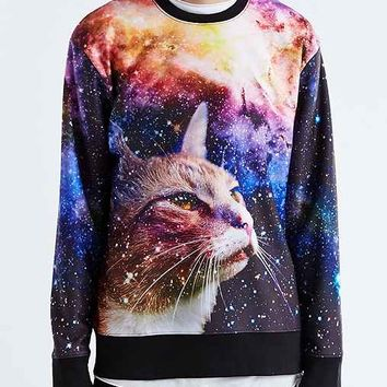 Galaxy Cat Crew Neck Sweatshirt- Purple