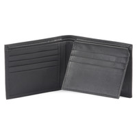 Style n Craft 300796-BL Black Bifold PassCase Leather Wallet with Flap