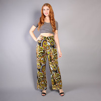 60s VELVET Wide Leg PANTS / High Waist PSYCHEDELIC Paisley Trousers, xs