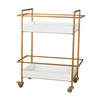 Gold and White Bar Cart Gloss White,Gold