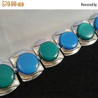 ON SALE Coro Designer Signed Vintage Statement Blue Green Lucite Bracelet - Bold Chunky Wide Rare Jewelry Find - 1960's 1970's Collectible