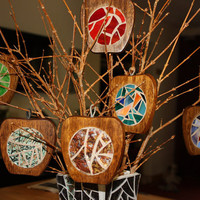 Apple Coasters / Stained Glass Apple Coasters / Christmas Wooden Apple Ornaments - set of 2