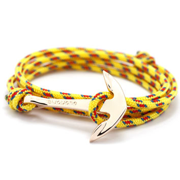 Rose Gold Anchor On Yellow Rope Bracelet