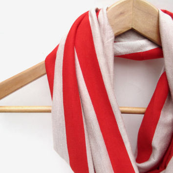 Red and Tan Striped Jersey Knit Infinity Scarf, Tan and Red, Striped Scarf, Fall Scarf, Jersey Scarf, Red Scarf, Accessory, Gift for her