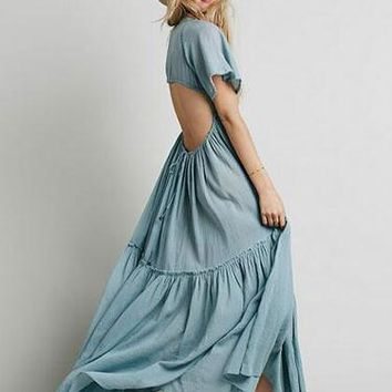 BoHo Backless Maxi Dress