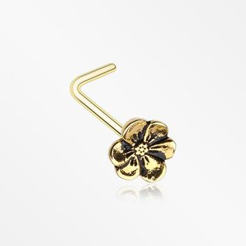 Golden Anemone Flower L-Shaped Nose Ring