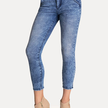 bebe Womens High-Waist Tux Capri Jeans Blue Acid Wash
