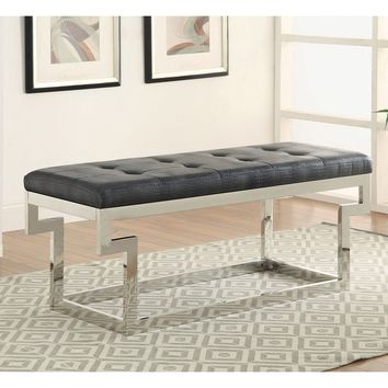 Furniture of America Babbie Contemporary Faux Crocodile Leather Small Accent Bench | Overstock.com Shopping - The Best Deals on Benches