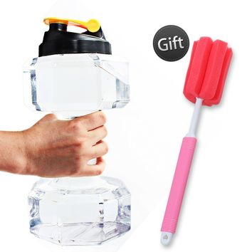 Lemonda 2.2L Sport Fitness Exercise Water Bottle Eco-friendly Dumbbell Drinking Bottl Jug Cup with Portable Carry Handle for Gym Sports Training and Bodybuilding Transparent