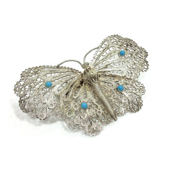 Filigree Butterfly Brooch, Sterling Silver Butterfly Brooch, Turquoise Cabochons, Rhodium Plated, Insect Jewelry, Vintage Jewelry