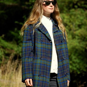 1950's PENDLETON Jacket, Blue + Green Plaid Wool Coat, Double Breasted Coat, Fall Winter Coat, Plaid Pea Coat, Plaid Wool Jacket, LARGE XL
