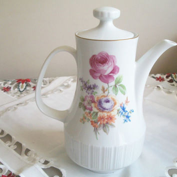 CP Porcelain Tea Pot/Coffee/HotChocolate Pot Made in German Democratic Republic Fine China with Floral Pattern