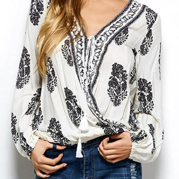 Bohemian Printed Front Wrap Lace Up Blouse