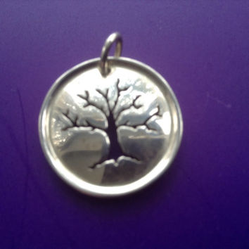 Sterling Tree of Life Pendant Charm Round 925 oak silver disc handcut mystical family symbolic jewelry mythic vintage jewelry signed gift