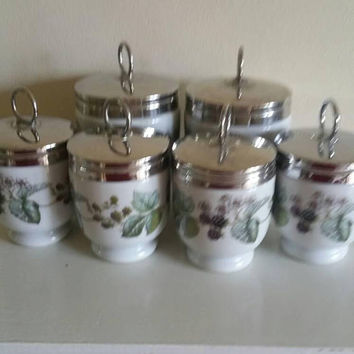 Royal Worcester set of 6 egg coddlers / spice jars/ two sizes /chrome screw off lids/ceramic bramble design UK seller/ ships worldwide